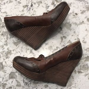 Restricted brown leather Mary Jane style wedge 7